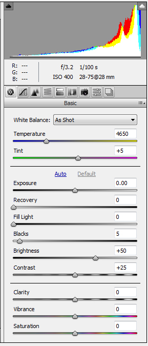 White balance adjustment in ACR